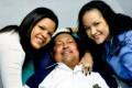 Venezuela's President Hugo Chavez (centre) last week with his daughters, Maria Gabriela (left) and Rosa Virginia in Havana, Cuba. Photo: AP