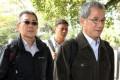 (Left to right) Lamma IV sailor Leung Tai-yau, engineer Leung Pui-sang and coxswain Chow Chi-wai at the hearing yesterday. Photo: May Tse