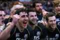 Scotland's captain Kelly Brown (left) celebrates with his teammates after their Six Nations win against Ireland in Edinburgh. Photo: AFP