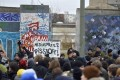 Police face protesters in the Berlin Wall stand-off. Photo: AFP