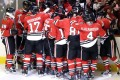 Chicago Blackhawks celebrate after winning an NHL hockey game against the Columbus Blue Jackets. Photo: AP