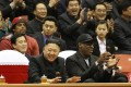 Dennis Rodman pictured with North Korean leader King Jong-Un during a visit to the country last month. Photo: AFP