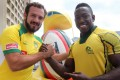 Brazil captain Fernando Portugal and his Jamaican counterpart Tyronie Rowe before a press conference yesterday. Photo: K.Y. Cheng