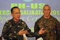 Philippine deputy exercise director Major General Virgilio Domingo (left) speaks while his US counterpart Brigadier General Richard Simcock II listens during their joint press conference at the opening ceremony for annual military exercises at a military camp in Manila. Photo: AFP