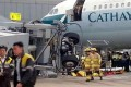 A technician was injured when an airbridge collapsed on Sunday.