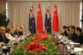 Australia's Prime Minister Julia Gillard (second left) speaks during a meeting with China's President Xi Jinping (second right) on the sidelines of the Boao Forum. Photo: AFP