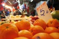 Sunkist oranges go for HK$5 apiece, a dollar more than usual.