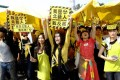 Protest in Taipei against a new nuclear plant. Photo: AP