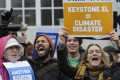 Environmental campaigners voice their opposition to the Keystone XL tar sands pipeline. Photo: EPA