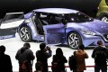 A prototype car from Nissan is viewed on the opening day of the Shanghai auto show on Saturday. Photo: Reuters