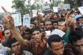 Relatives shout slogans during protest to demand capital punishment for those responsible for collapse of Rana Plaza building in Savar. Photo Reuters