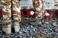 British soldiers attend a Remembrance Day ceremony at the British cemetery in Kabul. Photo: Reuters