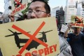 Okinawans want the US' Osprey aircraft banned. Photo: AFP