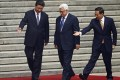 China's President Xi Jinping (left) greets Palestinian counterpart Mahmoud Abbas in Beijing. Photo: Reuters