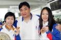 Annie Au, coach Tony Choi and bronze medallist Joey Chan.