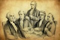 Alexander Hamilton (centre), the first US treasury secretary, went from his law practice to the federal government and then back to law.