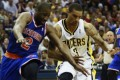 New York Knicks guard Raymond Felton (2) and Indiana Pacers guard George Hill during the second half of their NBA Eastern Conference second round playoff game in Indiana. Photo: Reuters