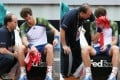 British tennis player Andy Murray (right) receiving treatment during his recent match against Spain's Marcel Granollers. Murray has pulled out of the French Open due to injury. Photo: EPA