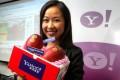 Yahoo e-commerce chief Jenny Li with some premium fruit.