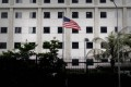 The US flag flutters in front of the US consulate in Hong Kong on June 10, 2013. Photo: AFP