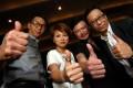 Lawrence Chou, Lau Yuk-chui and Ai Wai took up The Challenge offered by HKTV boss Ricky Wong (far right). Photo: Felix Wong