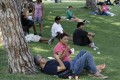 People gather in the shade at Belvedere Lake Park, Los Angeles, as a heat wave grips the western US. Photo: Reuters
