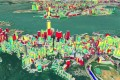 """A 3-D noise map of Hong Kong Island around the Victoria Harbour area. The colours represent the range of road traffic noise levels that affect residents at different heights. This figure is from the report """"Advancement of three-dimensional noise mapping in Hong Kong"""" by Chi-wing Law, Chee-kwan Lee, Aaron Shiu-wai Lui, Maurice Kwok-leung Yeung and Kin-che Lam, of the Department of Geography and Resource Management, The Chinese University of Hong Kong."""