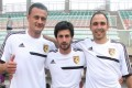 Admir Rascic, Aleksandar Randelovic, Josip Skoric, the three new players of Sun Pegasus Football Club. Photo: SCMP