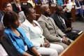 Sybrina Fulton (2nd left) and Tracy Martin (3rd left), Trayvon Martin's parents, and family lawyer Benjamin Crump (4th left) sit in court during George Zimmerman's murder trial. Photo: AFP