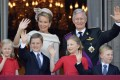 King Philippe, Queen Mathilde and (from left) Princess Eleonore, Prince Gabriel, Princess Elisabeth and Prince Emmanuel. Photo: AFP