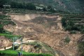Debris left by a landslide triggered after the recent earthquakes in Minxian county in Dingxi. Photo: AFP