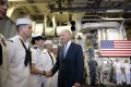 US Vice President Joe Biden greets sailors in the hangar of the USS Freedom, the US Navy's first littoral combat ship (LCS) currently on rotational deployment in Singapore, at Changi Naval Base. Photo: AP