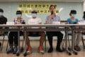 Students of Modern College and Legislator Ip Kin-yuen meet the media on plagiarism. Photo: Felix Wong