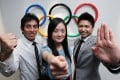 Athletes Chung Koon-ting (left), Lo Pan-pan (centre), and Cheng Ka-ho were recognised for successful moves to other careers. Photo: Nora Tam