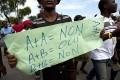 A protester at an anti-gay demonstration in Port-au-Prince. Photo: AP