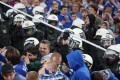 German police confront supporters of Schalke during a Uefa Champions League soccer match on Wednesday between FC Schalke 04 and PAOK Saloniki in Gelsenkirchen. Photo: AFP