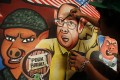Protesters' artwork featuring Philippine President Benigno Aquino that was used in a mass protest against corruption in Manila on Monday. Photo: AFP