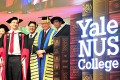 Singapore's President Tony Tan Keng Yam (second right) attends the inauguration ceremony of Yale-National University of Singapore (NUS) College held at Singapore's NUS University Cultural Centre, on Tuesday. Photo: Xinhua