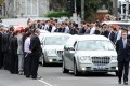 The funeral procession for Christopher Lane passes through a guard of honour as it leaves St Therese's Church in Essendon in Melbourne, Australia, on Wednesday. Photo: EPA