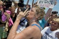 Exhausted Diana Nyad gives her three-part message to friends and supporters after finally reaching shore in Key West, Florida. Photo: AP