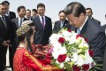 President Xi Jinping is presented with flowers yesterday upon his arrival in Ashgabat. Photo: Xinhua