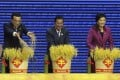 Premier Li Keqiang (left) joins Cambodian Prime Minister Hun Sen and Thai Prime Minster Yingluck Shinawatra at the expo opening. Photo: Reuters