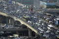 A rush hour traffic jam on Guomao Bridge in Beijing. Photo: Reuters