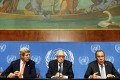 US Secretary of State John Kerry (left), and UN Special Representative Lakhdar Brahimi (centre) listen to Russian Foreign Minister Sergei Lavrov make a statement to the press in Geneva on Friday. Photo: Reuters