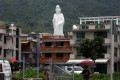 As the giant Goddess of Mercy statue nears completion, locals worry about visitor hordes. Photo: Nora Tam