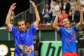 Czech Tomas Berdych (right) and Radek Stepanek (left) celebrate with team members after winning the third round of the Davis Cup semi-final tennis match. Photo: AFP