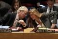 British Ambassador Mark Lyall Grant and U.S. Ambassador Samantha Power (right) confer in the United Nations Security Council. Photo: AP
