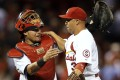 St. Louis Cardinals' Yadier Molina, left, and Carlos Beltran celebrate following the Cardinals' 4-3 victory over the Washington Nationals. Photo: AP