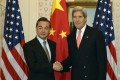 United States Secretary of State John Kerry meets with Chinese Foreign Minister Wang Yi in New York. Photo: AFP