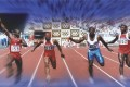 Ben Johnson (far left) celebrates after winning the 100m final at the Seoul Olympics. He was stripped of his medal.